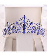Baroque Luxury Blue Crystal Heart Bridal Tiaras Crowns Rhinestone Pagean... - $24.74