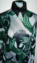 Emerald Black  White Silver Foil Print Lycra Stretch Fabric 1 Yard 5 Inc... - $30.00