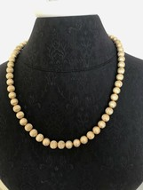 Gold Tone Textured Globe Necklace Signed Monet 25 inch Lariat  Bead Necklace  - $45.24