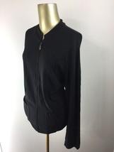 TALBOTS Full Zip Up Long Sleeve Black Casual Jacket Women's Size Large - $24.97