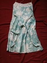 Ann Taylor Shift Dress Size 8 Teal & White Floral Print Dress With Empir... - $29.60