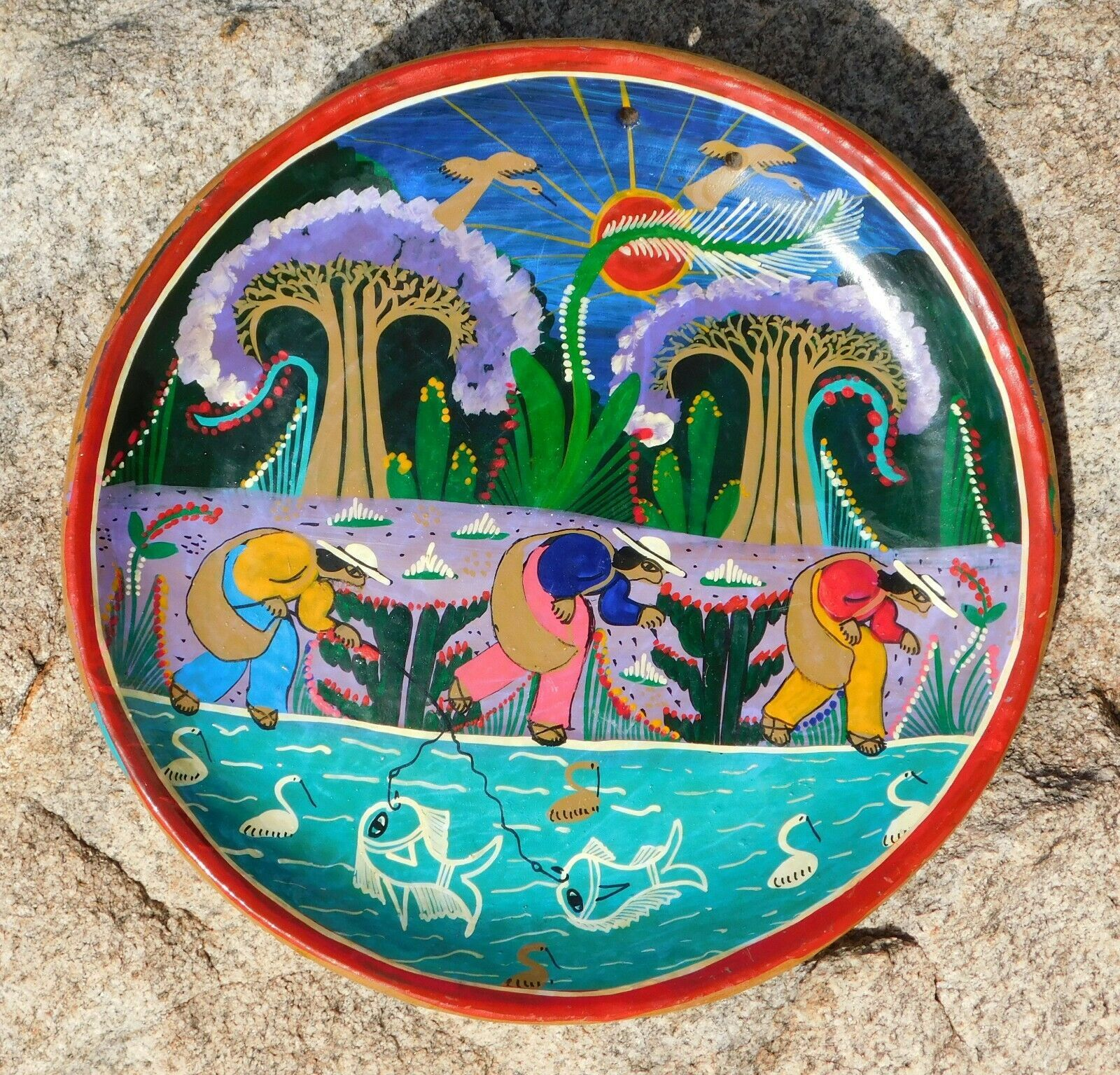 Primary image for Vintage Mexico Talavera MEN FISHING  Terracotta Story Plate Primitive Folk Art