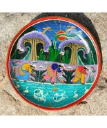 Vintage Mexico Talavera MEN FISHING  Terracotta Story Plate Primitive Fo... - $33.64