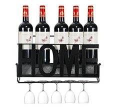 PAG Wall Mounted Metal Wine Rack with Wine Glass Holder & Wine Cork Stor... - $24.90