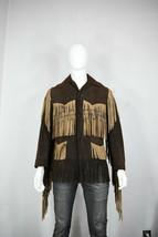 vintage leather fringe jacket S 60's suede mens hippie brown - $250.00