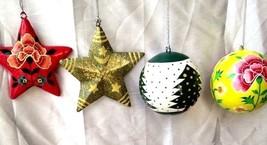4 pc Christmas decoration ornaments paper mache balls star - $41.95