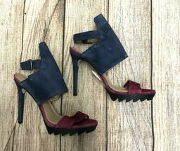 New Bcbg Maxazria Shoes Suede Blue Plum Heel Size: Eur 37 - $32.71