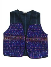 Vtg Tapestry Vest Embroidered Guatemalan Huipin Boho Aztec Small Women - $39.55