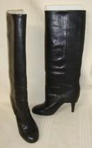 Ash ONO Black Tall Cuff Knee High Heel  Leather Boots Women' s Size EU 37  - $98.99
