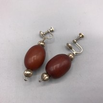 Vintage Sterling Silver Wood Clip On Earrings - $53.45