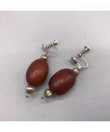 Vintage Sterling Silver Wood Clip On Earrings - $53.45