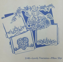 Vintage Aunt Martha's Hot Iron Transfers Pattern Lovely Foursome Pillows... - $4.99