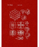 Rubik Cube Toy Patent Print - Burgundy Red - $7.95+