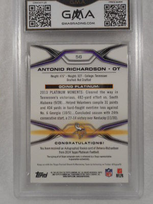 2014 Topps Platinum 56 Antonio Richardson Auto Rookie Refactor GMA Graded Gem 10
