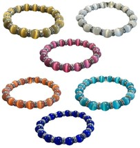 Cats Eye Fiber Optic Glass Beaded Stretch Bracelet Crystal Rondelle 6 Co... - $10.69