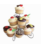 Cupcake Stand 3 Wire Tier Dessert Muffin Tower Holder Serving Decorating... - $12.62
