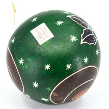 Handcrafted Carved Gourd Art Green Rudolph Reindeer Holiday Ornament Made Peru image 5