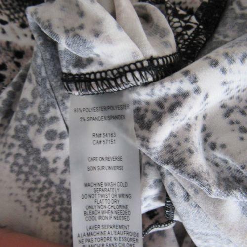 Calvin Klein Blusa Camisa Top TALLA S Blanco Negro Piel de Serpiente Estampado image 5