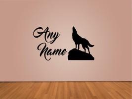 Personalizado Lobo Animales Cualquier Nombre Vinilo Adhesivo para Pared - $14.99
