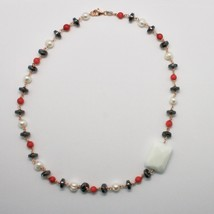 925 Silver Necklace with Coral Red Bamboo FW Pearls and Hematite Made in Italy image 1