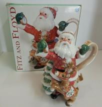 Fitz and Floyd CHRISTMAS Santa's Flight Santa and Reindeer Teapot - $39.55