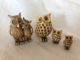 Set of 4 Ceramic Vintage Owl Figurines Tiny Family Set - $29.69