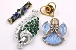 Vintage KC Angel Leaf Heart Bar Rhinestone Brooch Pin Lot Made with Swar... - $14.84