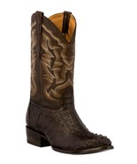 Mens Brown Western Boots Crocodile Hornback Skin Real Leather Cowboy Round - €236,23 EUR