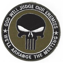 US Army Punisher Skull God Will Judge Our Enemies OD Green Patch - $11.87