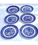 """Set of 6 ROYAL CHINA WILLOW WARE 6 1/2"""" Bread Dessert Plate Blue White Lot - $24.65"""