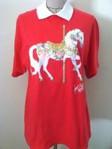 Vintage 90 women girl tshirt pink white collar painted on carousel horse glitter - $35.53