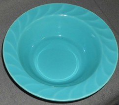 1930s Metlox YORKSHIRE PATTERN Glossy Turquoise SERVING BOWL Made in Cal... - $23.75