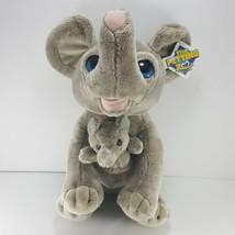Mama Elephant Baby elephant Blue Eyes Plush The Petting Zoo Stuffed Anim... - $24.74