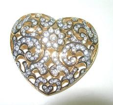 VINTAGE SWAROVSKI SIGNED SWAN HALLMARK GOLD TONE HEART BROOCH PIN - $75.00