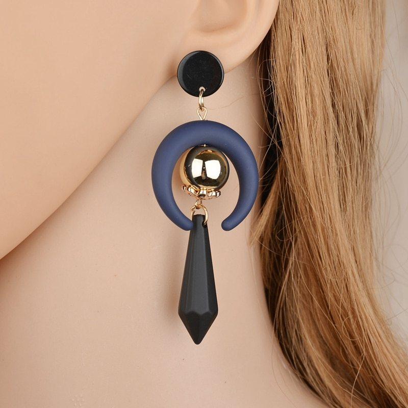BAHYHAQ - Vintage Style Half Months Acrylic Drop Ethnic Earrings Jewelry
