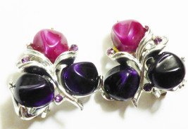 VTG Silver tone pink & purple lucite beads floral berry design clip earrings - $21.04