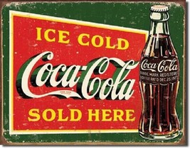 Coca Cola Coke Ice Cold Green Sold Here Advertising Vintage Retro Metal ... - $14.99
