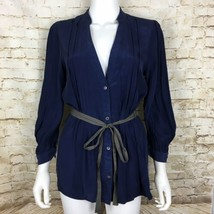 Tea And Honey Anthropologie Women's Blouse Medium Blue Pintuck Silk - $29.79