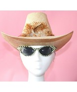 Vintage 1970's Levi's Straw Cowboy Hat with feather S size Small made in... - $49.49