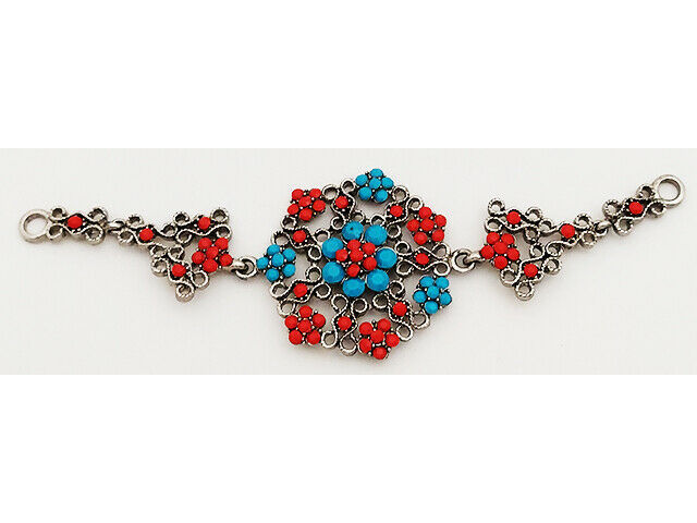 Pendant, Silver, Red and Blue Faux Cabochons