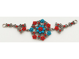 Pendant, Silver, Red and Blue Faux Cabochons image 1