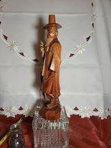 "Vintage Hand Carved Asian Man with Cane Wooden Statue 12"" Tall21 image 4"