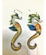 glass blown seahorse earrings jewelry with a green colored mane and blue... - £55.59 GBP