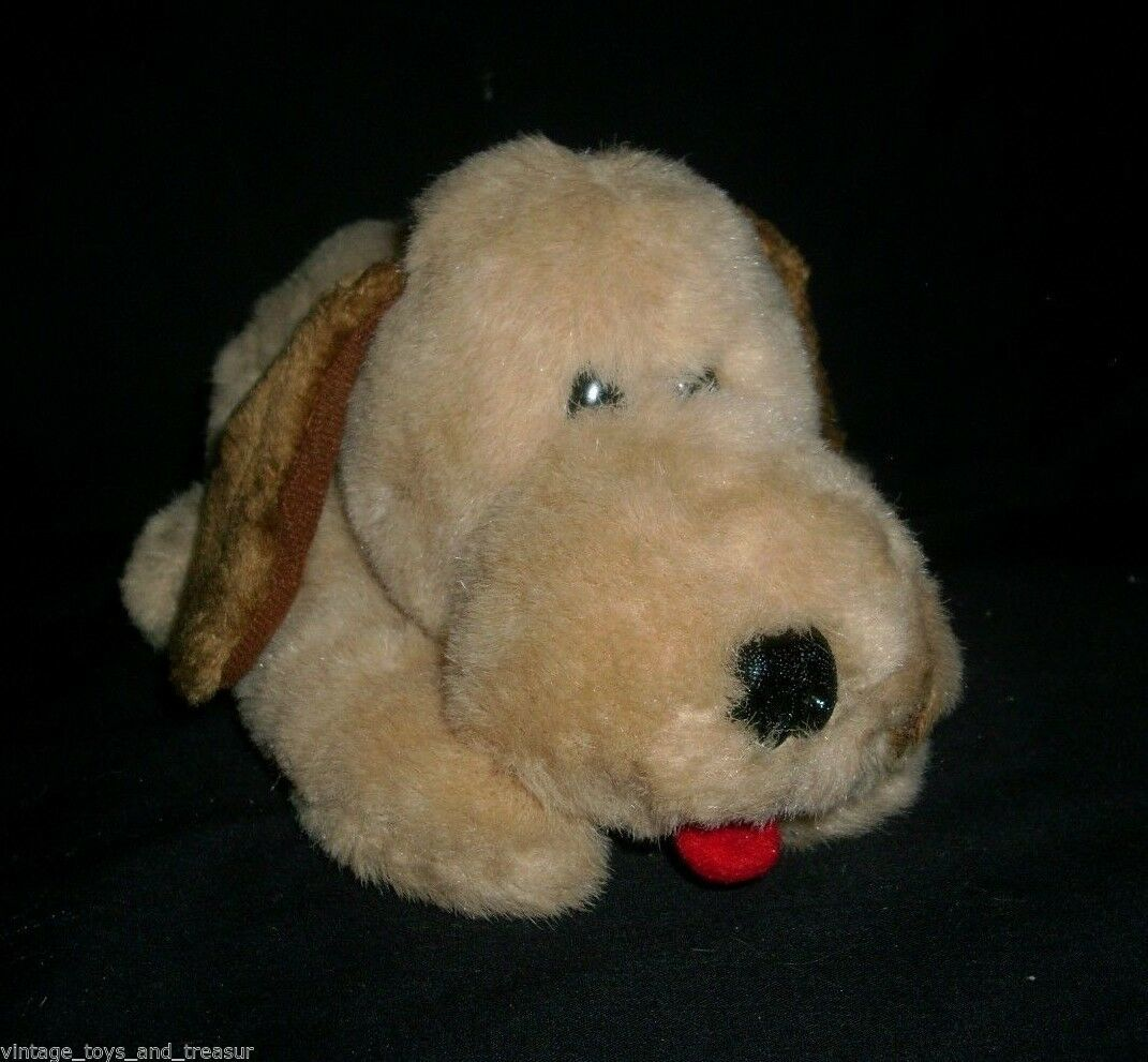"10"" VINTAGE 1983 ENESCO TAN BROWN LAYING PUPPY DOG STUFFED ANIMAL PLUSH TOY SOFT image 3"