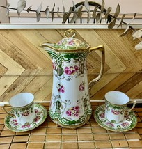 Hand Painted Nippon China - Floral Roses - Chocolate Pot 2 Cups and 2 Saucers - $137.61