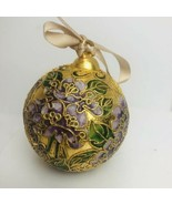 Precious Cloisonné Ball Christmas Ornament Gold Plated Enamel Pink Green... - $14.85