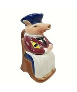 "Vintage Majolica Pig Pitcher French Headwaiter 9"" Ceramic  - $49.50"