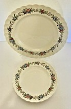 Copeland Spode Made in England Felicity Pattern 1 Dinner Plate 1 Luncheon Plate - $19.68