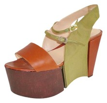 Fendi Sz 39 Rare Brown Green Super Platform Leather and Grosgrain - $346.49