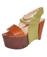 Fendi Sz 39 Rare Brown Green Super Platform Leather and Grosgrain - $346.49